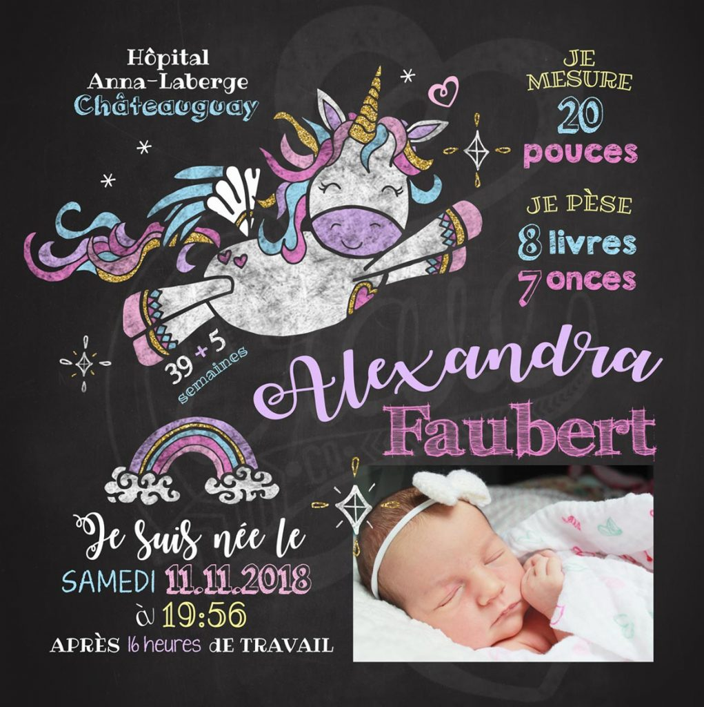 Carré de naissance Vole petite licorne - LILAS
