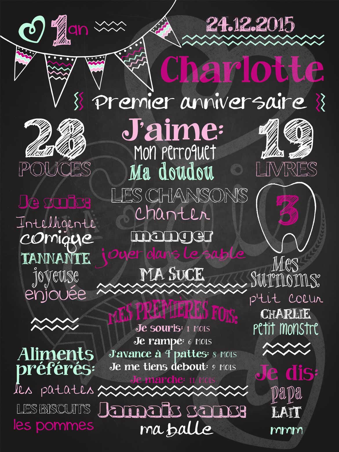 affiche personnalis e 1er anniversaire mignons fanions la craie co. Black Bedroom Furniture Sets. Home Design Ideas