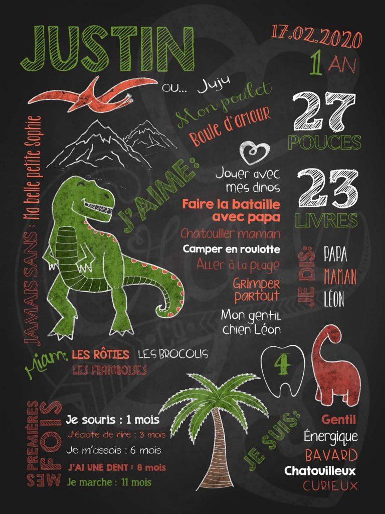 Affiche chalkboard 1er anniversaire Dinosaures rugissants - Vert