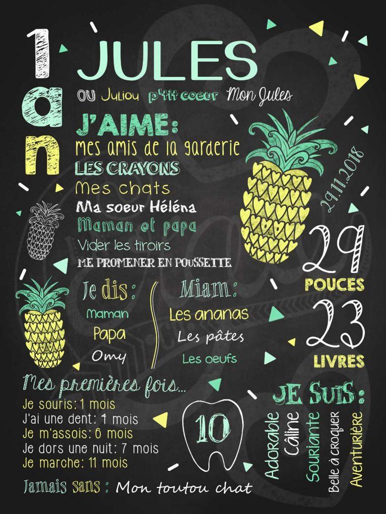 Affiche chalkboard 1er anniversaire Fiesta d'ananas - MENTHE
