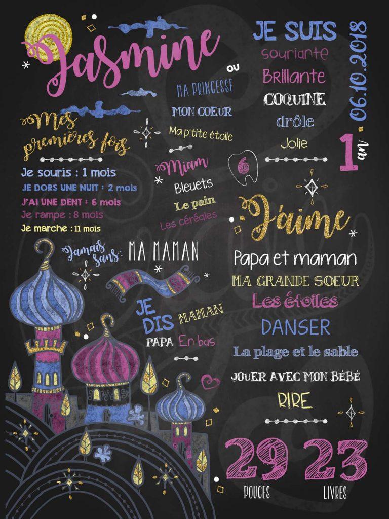 Affiche chalkboard 1er anniversaire Mille et une nuits