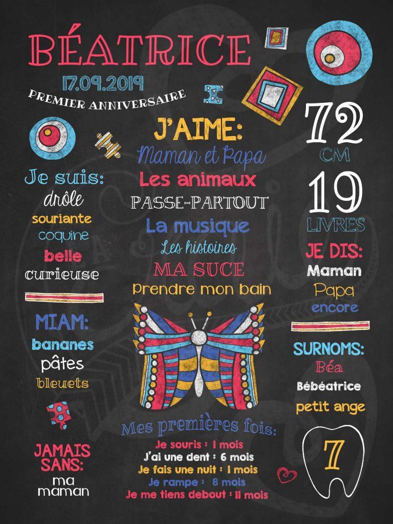 Affiche chalkboard 1er anniversaire Papillon doux - Corail
