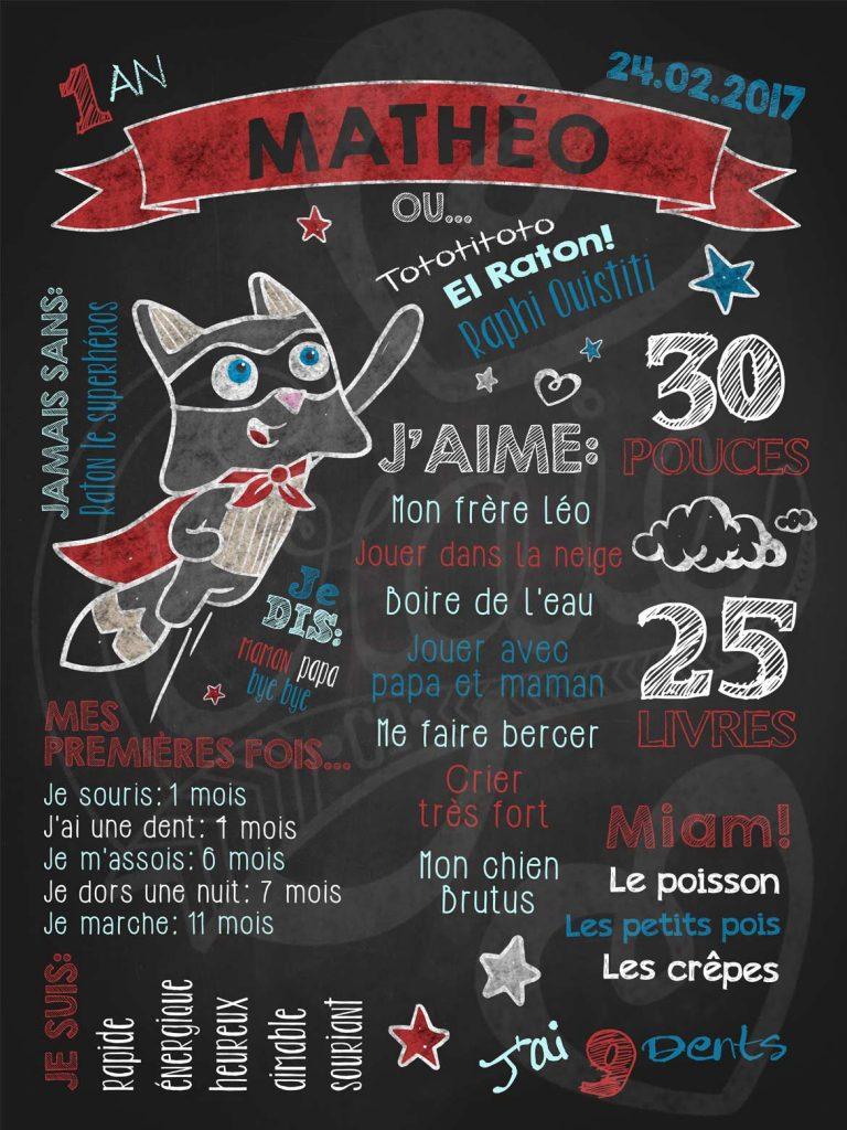 Affiche chalkboard 1er anniversaire Raton le superhéros - Les Tronches