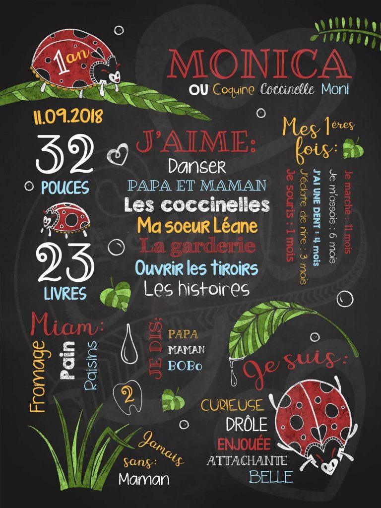 Affiche chalkboard 1er anniversaire Toutes belles coccinelles - ROUGE