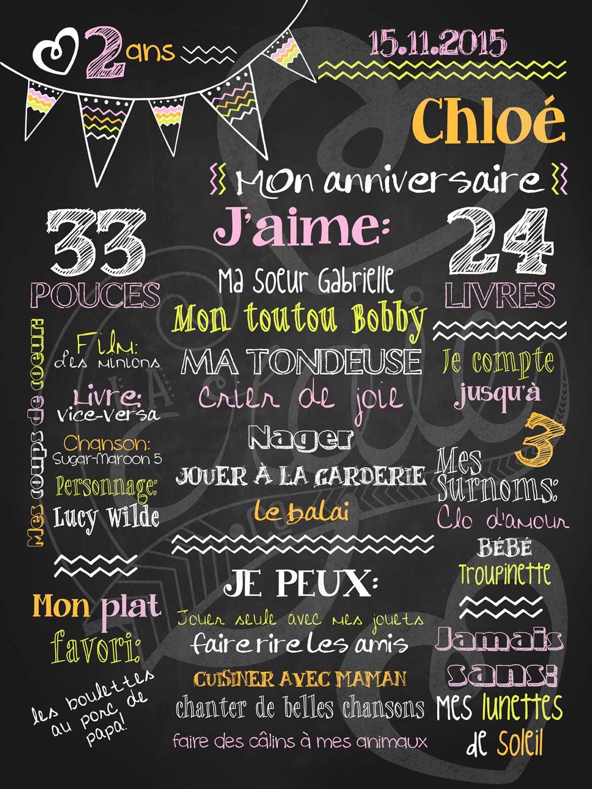 Connu Affiche personnalisée anniversaire Allez hop les fanions • La  SA43