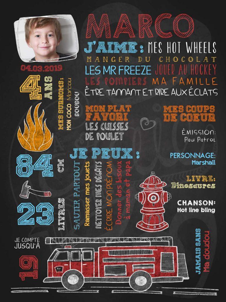 Affiche chalkboard anniversaire 2 à 5 ans Au feu pompier! avec photo