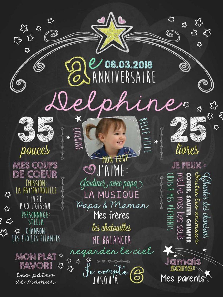 Affiche chalkboard anniversaire 2 à 5 ans Étoile montante - ROSE