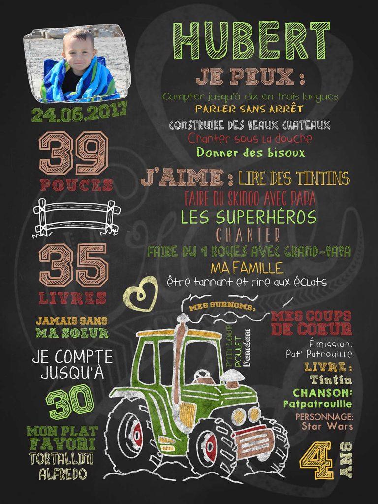 Affiche chalkboard anniversaire 2 à 5 ans Mon amour de tracteur - VERT