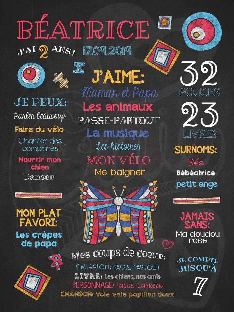 Affiche chalkboard anniversaire 2 à 5 ans Vole vole papillon - Corail