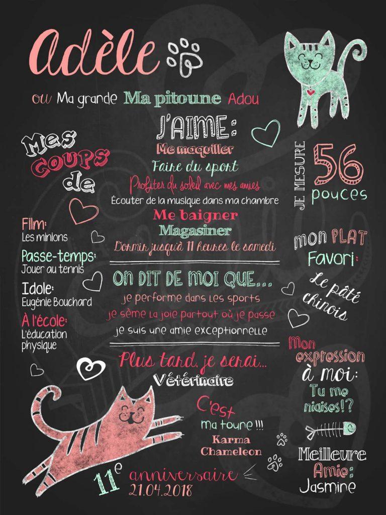Affiche chalkboard anniversaire 6 à 12 ans Amour de chat - PÊCHE