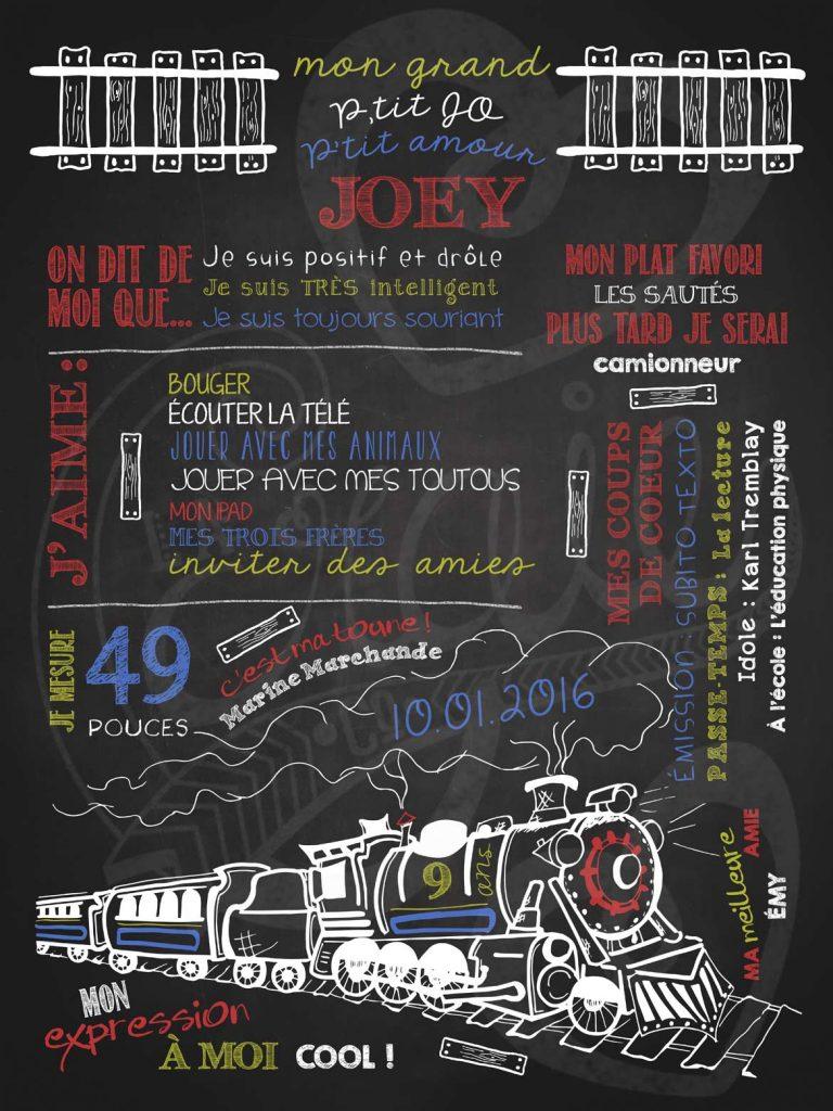 Affiche chalkboard anniversaire 6 à 12 ans Sur les rails - ROUGE