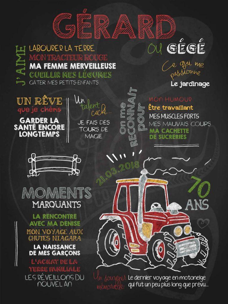 Affiche chalkboard anniversaire pour adulte Dans mon tracteur - ROUGE