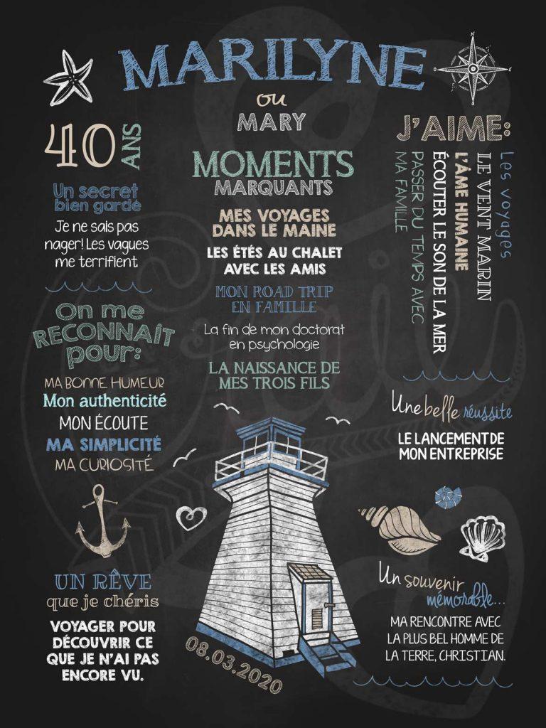 Affiche chalkboard anniversaire pour adulte Vent marin - bleu