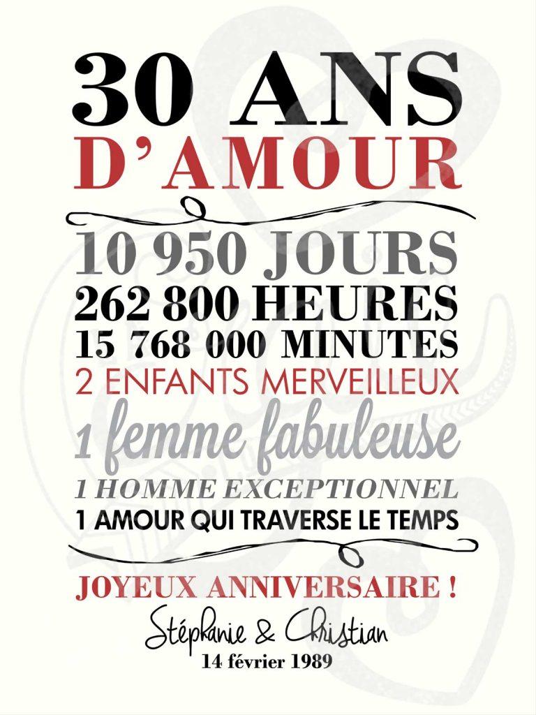 Affiche chalkboard anniversaire de mariage Célébrons notre amour - BLANC
