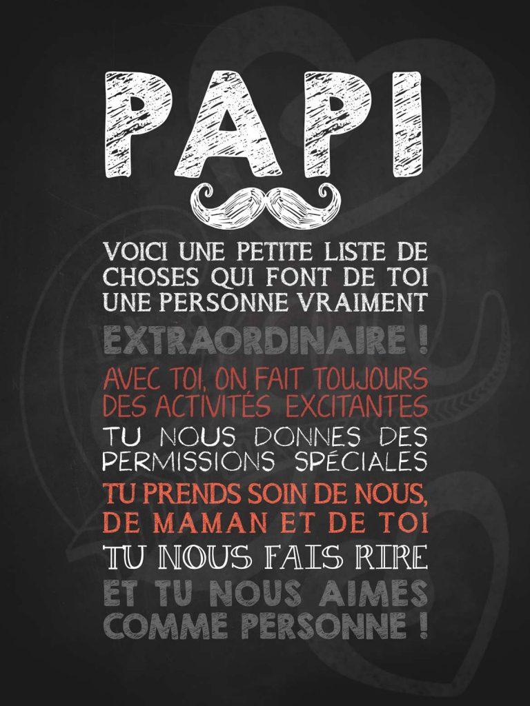 Affiche chalkboard fete des pères Papi moustachu extraordinaire!