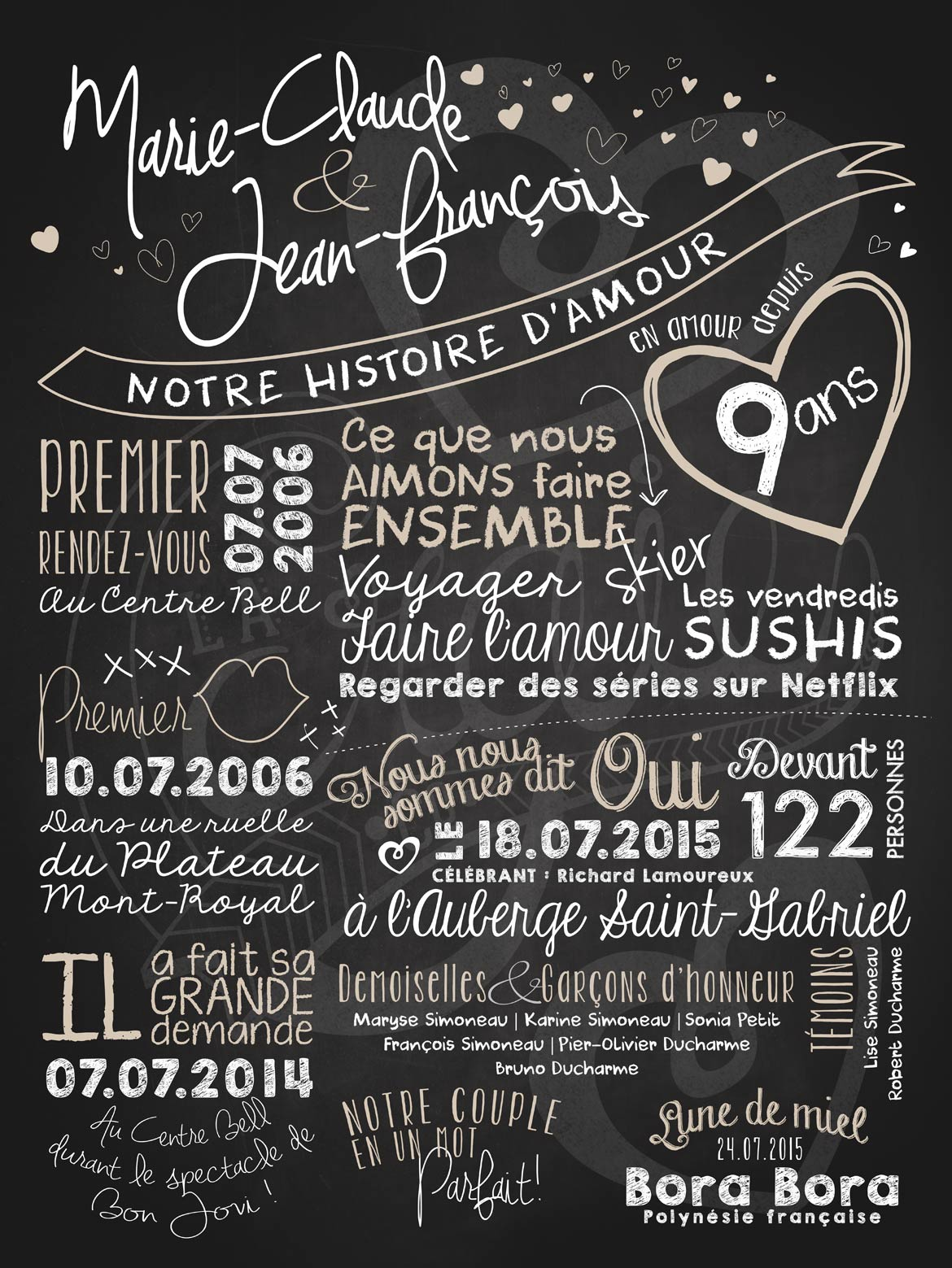 affiche de mariage notre histoire d 39 amour la craie co. Black Bedroom Furniture Sets. Home Design Ideas