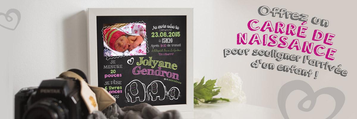 Offrez un carré de naissance pour souligner l'arrivée d'un enfant!